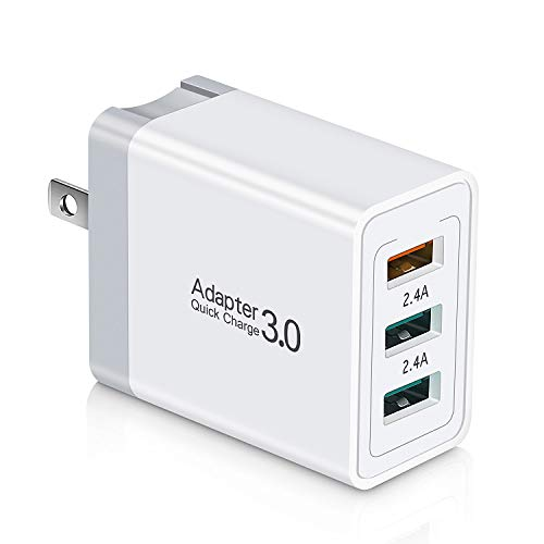 Quick Charge Fast USB Wall Charger, Aupek 3 Ports Travel Foldable Plug QC 3.0 Power Adapter Fast Charging Block Cube Compatible Samsung Galaxy S10 S9 S8 Plus S7, Note 9/8, Phone XR/XS/8, LG G8 V30