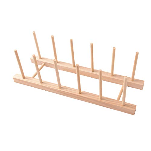 Yihaifu Escurridor placa de madera Estante Para Platos de cocina Placa de Fijación de secado Libro de imágenes del soporte de exhibición, 5 ranuras
