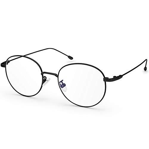Livhò Occhiali per computer pc luce blu, Filtro UV Abbagliamento Occhiali da gioco rotondi retrò per donna Uomo [Anti affaticamento della vista e riduzione del mal di testa] (Nero)