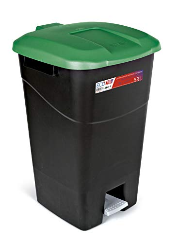 Tayg Coperchio verde, contenitore per rifiuti, 60 litri, con pedale, base nera