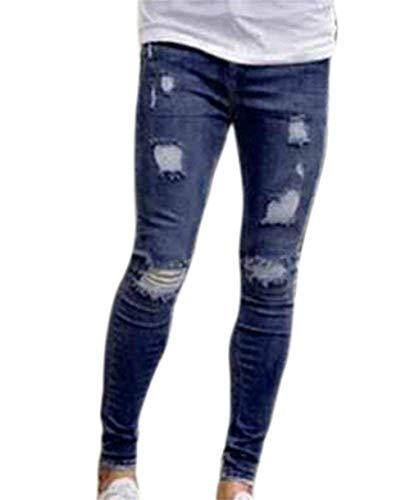 Adelina Nner doorscheurde jeans Super Stretch broek jongens doorscheurde Fit Skinny heren lichte jeans gebreide kniejeans Hot New Denim Pants