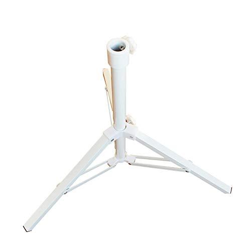 Yuanu Regenschirm Basis Fuß Von 3 Bein Stahlrohr Sonnenschirm-Grundgewichte Drehverschluss Sonnenschutzhalter Stand zum Draussen Garten Balkon Hof Strand Weiß