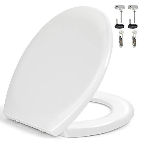 Toilettendeckel, WC Sitz mit Absenkautomatik, Quick-Release Funktion für leichte Reinigung, Antibakteriell Klodeckel aus Duroplast, O Form Weiß Toilettensitz mit Edelstahl Befestigung