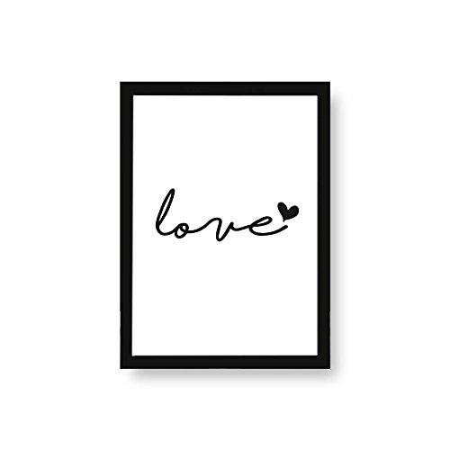 Kenay Home Love Lámina, Papel, Blanco y Negro, A4