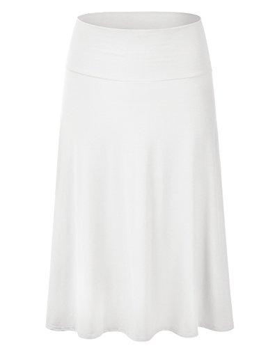 EIMIN Women's Solid Flared Lightweight Elastic Waist Classic Midi Skirt Ivory S
