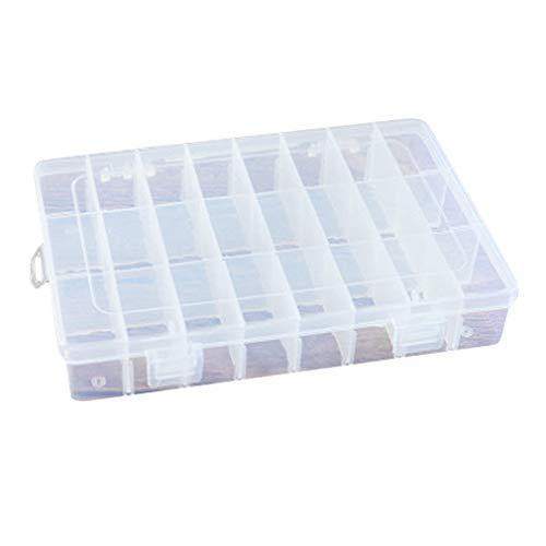 24 emplacements en plastique ongles décorations bijoux strass boîte de rangement, support de support de support d'affichage de maquillage clair