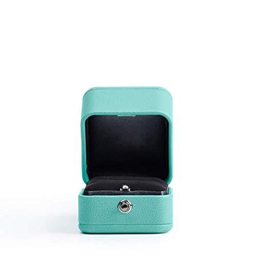 Decoratieve box Sieraden kast Wedding Huwelijk Ring Box bruiloft sieraden Diamond Ring Box Blue PU lederen materiaal Compact en mooie blauwe grote sieraden doos Juwelendoos