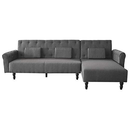Comfort Products SelectionHome - Sofa Chaise Longue, Convertible en Cama, Reversible, Modelo Chester, Acabado en Gris, Medidas: 267 cm (Largo) x 137 cm (Fondo) x 88 cm (Alto)