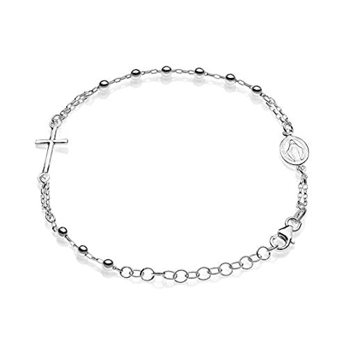 Aka Gioielli® - Pulsera rosario para mujer de plata 925 con medalla Virgen Milagrosa y cruz.
