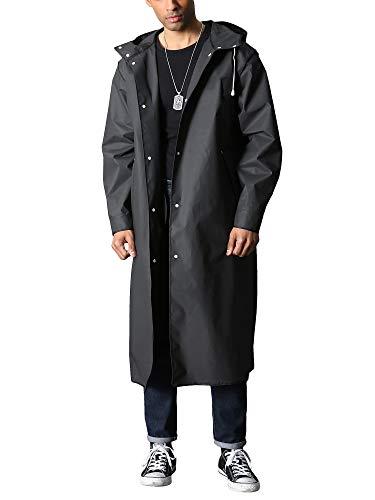 TACVASEN Herren Lang Regenmantel Wasserdicht Wiederverwendbar Regenponcho mit Kapuze Wandern Angeln Regenjacke Gr. S, Schwarz 01