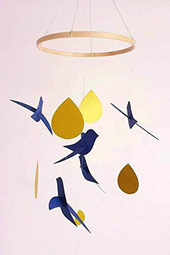 Bebé móvil, 5 pájaros azules/gotas de oro, círculo de madera, decoración de pájaros, regalo de nacimiento, estilo escandinavo, móvil para cuna