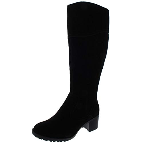 Easy Spirit Womens Grazes Wide Calf Suede Knee-High Boots Black 8 Medium (B,M)