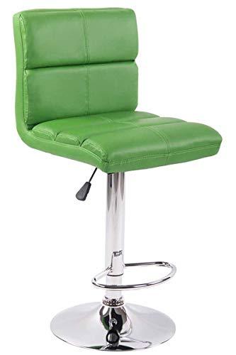 Taburete De Bar Umbria Tapizado En Simil Cuero   Silla Alta Regulable En Altura I Taburete con Respaldo & Reposapiés I Color:, Color:Verde Claro