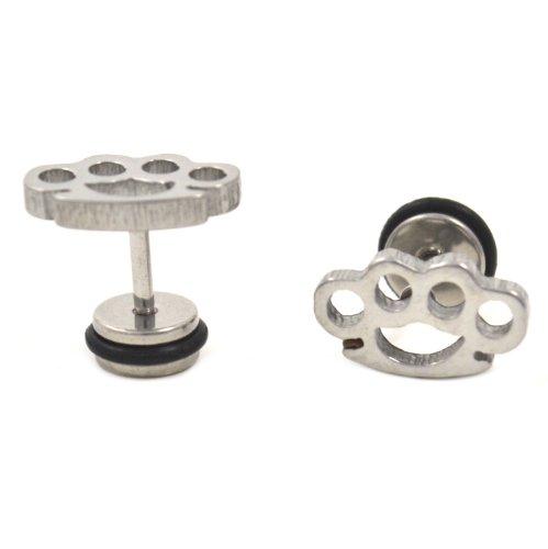 Pair (2) Steel Brass Knuckles Fake Cheater Ear Plugs - 2G-Gauge Look Earrings