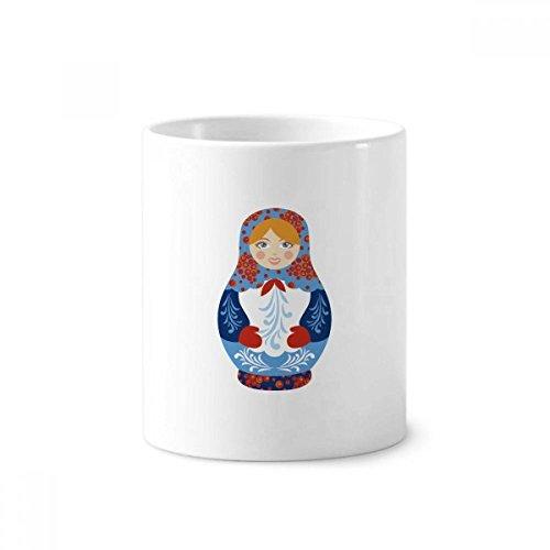 DIYthinker Russland Symbol Russische Puppen Muster Keramik Zahnbürste Stifthalter Tasse Weiß Cup 350ml Geschenk 9.6cm x 8.2cm hoch Durchmesser