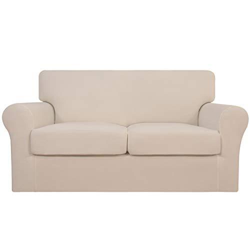 Easy-Going 3 piezas de funda elástica suave para sofá para perros – Funda de sofá lavable para 2 cojines separados – Protector de muebles elástico para mascotas, niños (sofá de solo, lino)