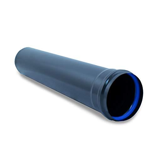 Tubo de 1m en acero inoxidable negro para estufas de pellets - Diámetro 100 mm, Material Pellet Inoxidable Vitrificado