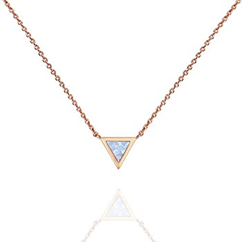 PAVOI 14K Rose Gold Plated Triangle Created White Opal Necklace   Opal Necklaces for Women
