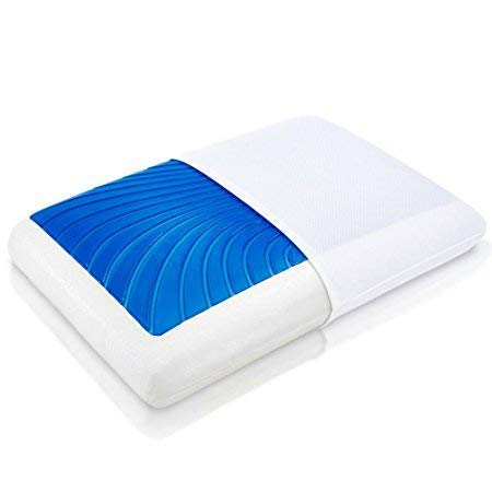 ViscoSoft Hypoallergenic Memory Foam Queen Arctic Gel Contour Pillow with Removable Cover