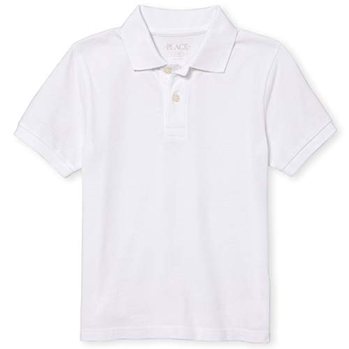 The Children's Place Boys' Uniform Pique Polo, White, M (7/8)