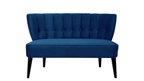 Jennifer Taylor Home Becca Channel and Button Tufted Settee, Navy Blue
