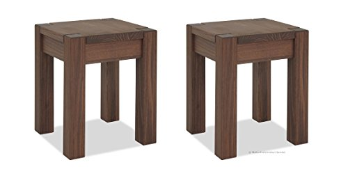 2er Set Hocker 35x35cm Rio Bonito Farbton Cognac braun Sitzhöhe 45cm Pinie Massivholz Stuhl Sitzhocker Blumenhocker geölt und gewachst