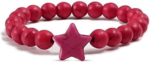 Pulsera de buena suerte Pulsera de piedra Mujer, 7 Chakra Tallas de piedra natural Turquesa Rojo Pulsera Elástica Moda Mujeres Lucky Bangle Rose Rojo Estrellas Charm Joyería para Pareja Un gran regalo