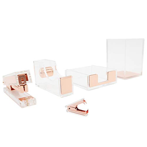 Clear Acrylic Rose Gold Stationery Set Desktop Stapler, Tape Dispenser, Pen Pencil Holder, Memo Notes Holders, Staples Remover Dress Up Home Office School Desk Accessories Supplies Kit (Rose Gold)