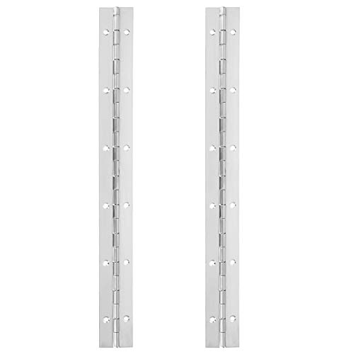 2 PCS Stainless Steel 304 Piano Hinge, 12 Inch Heavy Duty Continuous Hinge, 0.04' Thickness Fixing Folding Continuous Piano Hinge