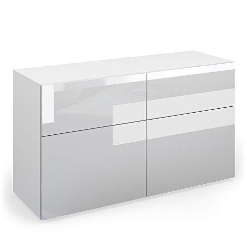 Vicco Sideboard Compo Highboard Anrichte Kommode Mehrzweckschrank (weiß/weiß Hochglanz)
