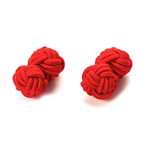 Hersteller: Bull & Drake Paar Seidenknoten Manschettenknöpfe Stoffknoten Cufflinks Knötchen rot, London Gentleman (1 Paar)