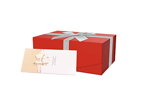 BUBIQUER Gift Boxes 9.5x 7x 4.5 inches, Collapsible, Magnetic Closure Gift Box with Lids, Bridesmaid Proposal Box,Sturdy Storage Box, Birthday Party and Wedding Gift Packing.(Cards and Ribbons)