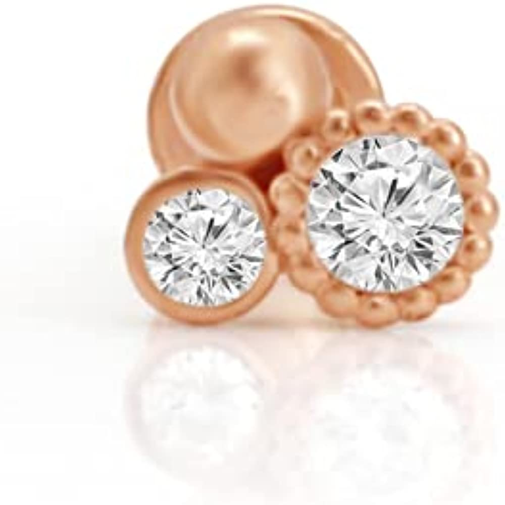 Estella Collection Natural Diamond Triple Cluster Cartilage Stud Earrings 14K Rose Gold|Daith Helix Tragus Piercing|Internally Threaded(0.05 Carat T.W. G-H Color,SI1-SI2 Clarity) Jewelry Gift For Her