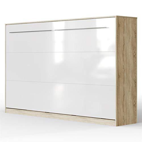 SMARTBett Standard Cama abatible Cama Plegable Cama de Pared (Roble Sonoma/Blanco Brillante, 120 x 200 cm Horizontal)