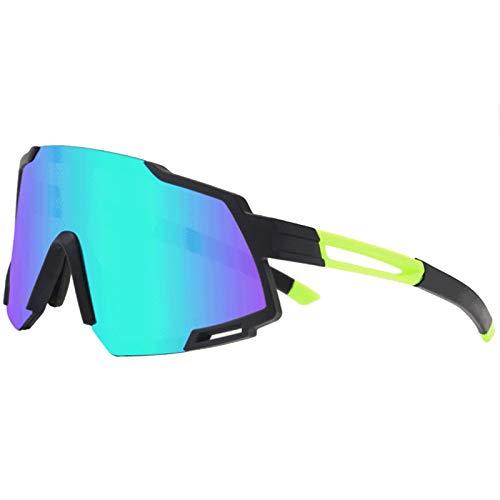 shangji Gafas de Ciclismo Polarizadas Protección UV400 Gafas De Sol con 5 Lentes Intercambiables Gafas de Bicicleta para Pescar Conducir Deportes al Aire Libre (Black Green)