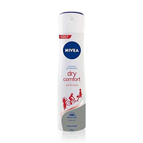 NIVEA Dry Comfort (1 x 200 ml), desodorante antitranspirante con protección 48 horas, spray desodorante de cuidado femenino testado en la vida real