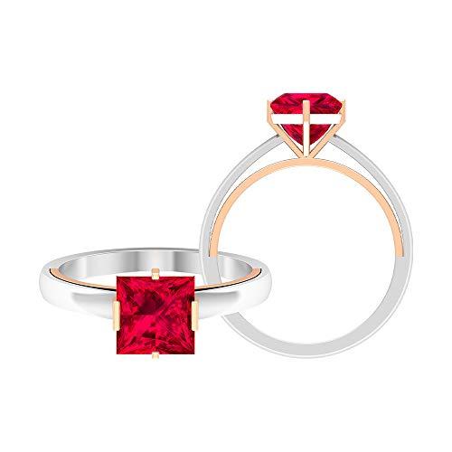 Rosec Jewels - Anillo de compromiso solitario de 7 mm, 2 quilates, corte princesa de rubí, anillo de compromiso, dos tonos de oro (calidad AAA), 14K Oro rosa, Size:EU 62
