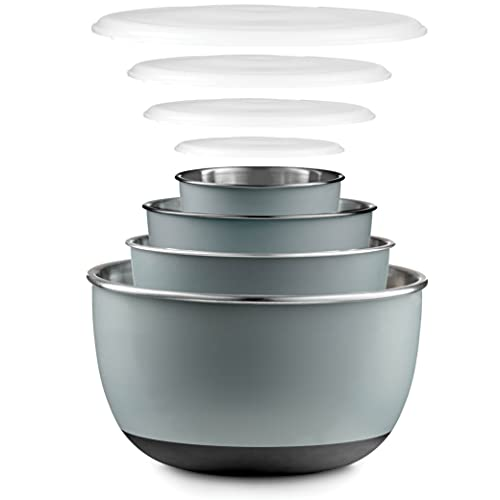 Double Wall Stainless Steel Mixing Bowls with Airtight Lids (Set of 4) Nesting Bowls for Space Saving Storage - Non-Slip Bottoms for Stability - Mixing Bowl Set For Cooking, Baking & Food Storage.