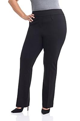 Rekucci Curvy Woman Secret Figure Knit Bootcut Plus Size Pant w/Tummy Control (14W Short,Black)