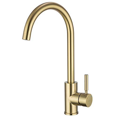 Grifo monomando GAPPO para fregadero de cocina, sin plomo, arco alto, monomando de una sola palanca, para antes del baño, dorado