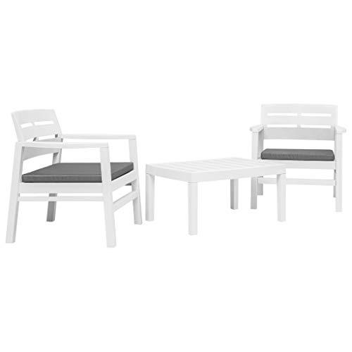 Tidyard Conjunto de Mesa y 2 Sillas con 2 Cojines,Conjunto de Comedor de Jardín para Balcón Terraza Patio,Plástico Blanco