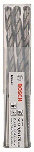 Preisvergleich Produktbild Bosch Professional Metallbohrer HSS-G geschliffen mit langer Arbeitslänge (5 Stück,  Ø 9, 5 mm)