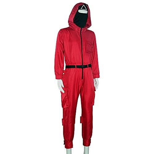 Vialogry Disfraz unisex de calamar + guantes + cinturón 3 piezas de Halloween fiesta calamar juego 2021 TV Cosplay ropa de juego, rosso, L