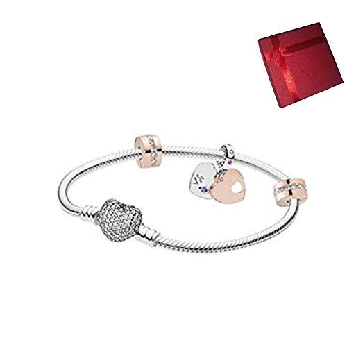 belinia prestige - Bracciale da Donna, con ciondoli a Forma di Cuore, Bracciale di Stile + Charm + Scatola per Gioielli per Bracciale e Charm