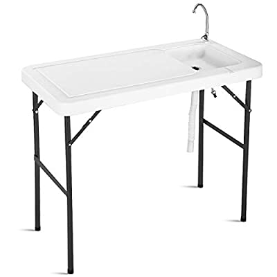 Goplus Portable Folding Table Fish Fillet Hunting Cleaning Cutting Camping Picnic Outdoor Gardening Table w/Sink Faucet (Stainless Steel Faucet)