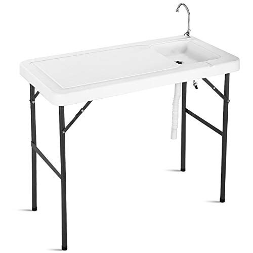Moccha Portable Folding Camping Sink Table, Fish Cleaning Table w/Faucet, Outdoor Cleaning Station w/Hose, Camping Picnic Garden Table