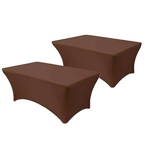 """Your Chair Covers - Pack of 2, 8 ft Rectangular Fitted Stretch Spandex Table Cover for 96"""" Length x 30"""" Width x 30"""" Height Fitted Tablecloth for Standard Folding Tables - Chocolate Brown"""