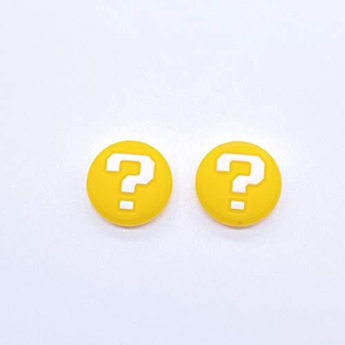 Conjunto de 2 peças de silicone analógico para polegar, capa para joystick para Nintendo Switch NS Switch Lite Console Joy-con, controle de polegares, tampa amarela