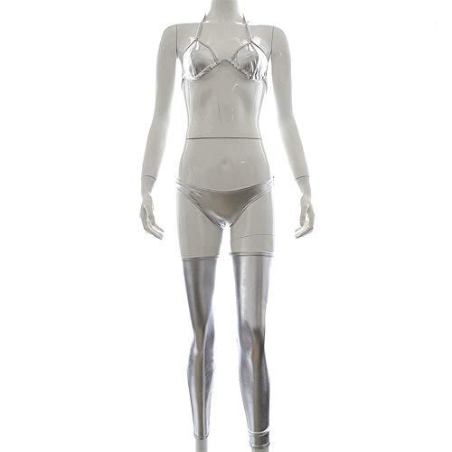 ZiWen Lu Erotische Dessous for Erwachsene Dreipunkt-Lackkleidung (Color : Silver)