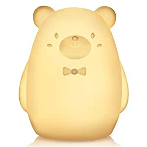 crib bedding and baby bedding nursery night light for baby – paint free silicone bear led nightlight, with timer, brightness control, safe&durable, breast-feeding